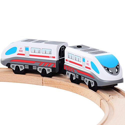 ZONXIE Magnetic Battery Operated Action Train Powerful Engine Bullet Train Toys Car for Toddlers Compatible with Thomas Brio Tracks