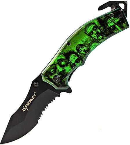 Elfmonkey Klappmesser Zombie Apokalypse Design   Survival Outdoor Taschenmesser   Sägeklinge Einhand-Rettungsmesser