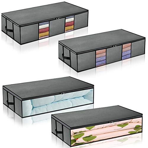 HERNEAT Underbed Storage Containers Foldable Bags 4-Pack Large Space Saver Under Bed Storage with Clear Window for Blankets Clothes Grey