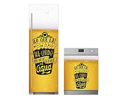 Oedim Pack Vinilo para Frigorífico + Vinilo para Lavavajillas Amor por la Cerveza, Adhesivo Resistente y Económico, Pegatina Adhesiva Decorativa de Diseño Elegante