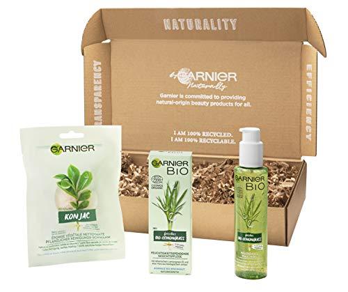 Garnier Bio Naturkosmetik Gesichtspflege-Set – 3-teiliges Geschenk-Set, Bio-Lemongrass Waschgel, Gesichtspflege, pflanzlicher Reinigungsschwamm