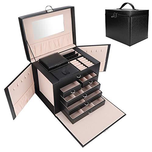 Caja de almacenamiento de joyas, caja de joyería de moda, portátil con cerradura y llave para collar precioso, anillos, pulseras, relojes, joyería
