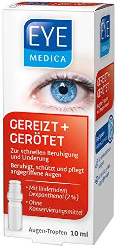 EyeMedica Gereizt + Gerötet, Augentropfen zur Beruhigung der Symptome von strapazierten Augen, Pflege für gerötete, gereizte und trockene Augen, für Kontaktlinsenträger geeignet, 1 x 10 ml