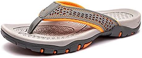 Machengxixtxie Bathroom Slippers, Brand Leather Summer Men Slippers Beach Sandals Men Shoes Fashion Men Flip Flops Footwear (Color : Khaki, Shoe Size : 10)