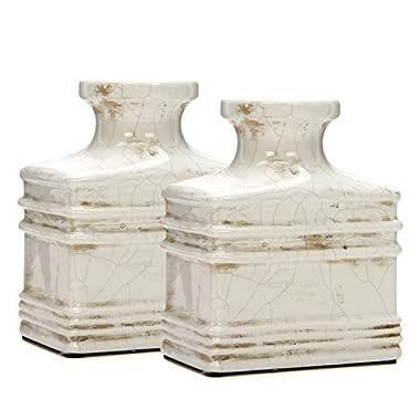 Hosley Set of 2 Ceramic Antique Cream Crackle Vases - 6  High. Ideal Gift for Weddings, Spa, Flower Arrangements. O7