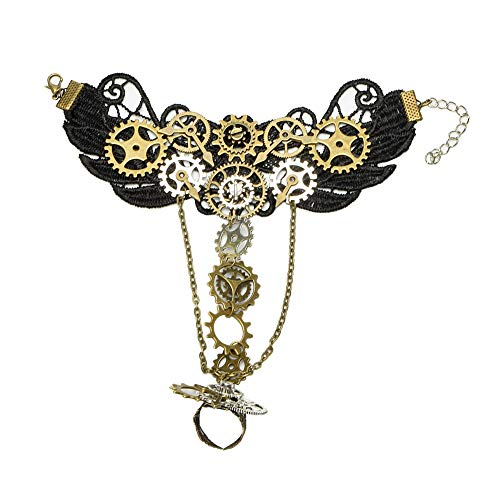 Punk Lolita Victorian Wristband Lace,Alloy Gears, Chain, Beads Extender Chain,Floral Lace Size: Length: about 18cm + 7cm extend chain
