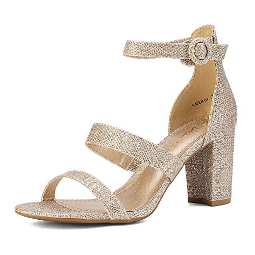 DREAM PAIRS Women's Gold Glitter Dress Pump Open Toe Ankle Strap Low Chunky Block Heel Sandals Size 6.5 M US Haven-01