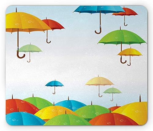Buntes Mauspad, Regenschirme im Himmel Klimameteorologie Sturm Gießen Herbst Regen Freiheit Wetter Thema, Rechteck rutschfestes Gummi-Mauspad, Standard Multicolor