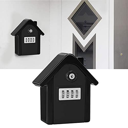 Caja de bloqueo de llave de alta seguridad con contraseña de 4 dígitos para colgar en la pared para escuelas y fábricas, caja de cerradura pequeña para exterior (negro)
