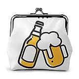 BGHYT Sac à Monnaie icône de bière Mince Ligne Web Boucle Mobile en Cuir Porte-Monnaie Pochette Mini Portefeuille pour Femmes Serrure Changement Sac à Main Portefeuilles