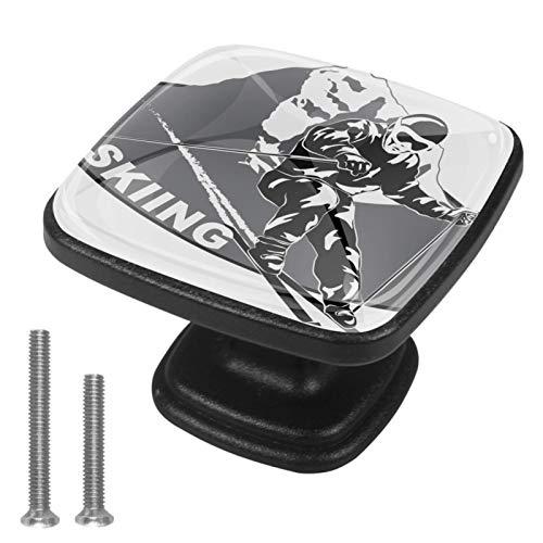 4 Stück Quadrat Schrankknöpfe Sport Snowboarden Kunststoff schwarz Kristallglas Schubladenknöpfe Garderobe Ziehgriffe Möbelgriff 3x2.1x2 cm