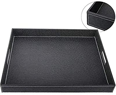 Big Faux Leather Decorative Tray with White Stitching