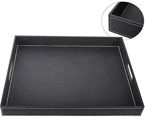HofferRuffer Ostrich Faux Leather Rectangular Decorative Serving Tray with Handles for Coffee Table, Breakfast, Tea, Food, Butler, Black Ostrich PU Leather, 17.7 x 13.8 x 2 inches