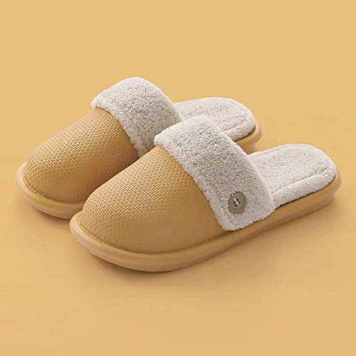 Zapatillas de Mujer Zapatos de Interior cálidos de algodón Zapatillas de casa Zapatillas Antideslizantes para Hombre Zapatillas de Pareja Suaves y cómodas-Yellow_6