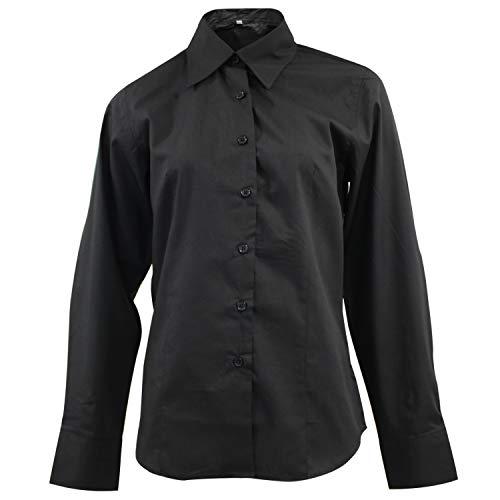MISEMIYA - Camisa Uniforme Camarera SEÑORA con Mangas LARGAS MESERO DEPENDIENTA Barman COCTELERA PROMOTRORAS OFICCE Lady Blusa - Ref.826 - M, Negro