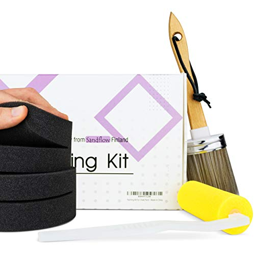 Painting Kit - Great Kitchen Cabinets Paint Kit and Chalk Paint Sets for Furniture - Kit Includes Two Sponge applicators, Synthetic Brush and Foam Roller - by Sandflow