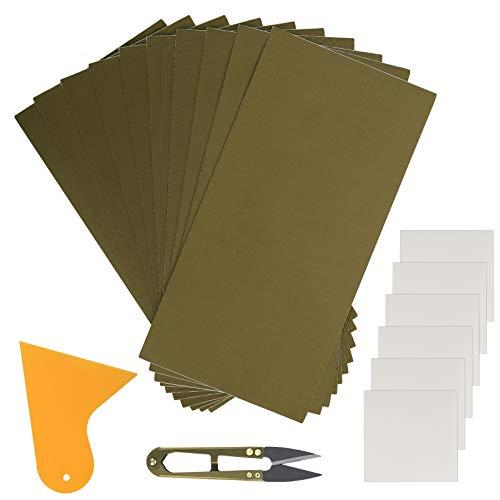 HAKOTOM 16 parches de reparación de tiendas de campaña, cinta de reparación de campaña, autoadhesiva, impermeable, kit de reparación de pinchazos, tijeras en forma de U, cuchillo de masilla plástico
