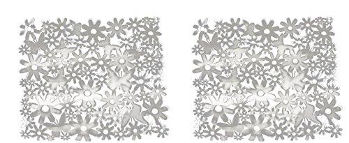 EVRI Non-Slip Sink Mat- Blue, Black & White- 2 Packs 10x11.5-Inches (2, White)