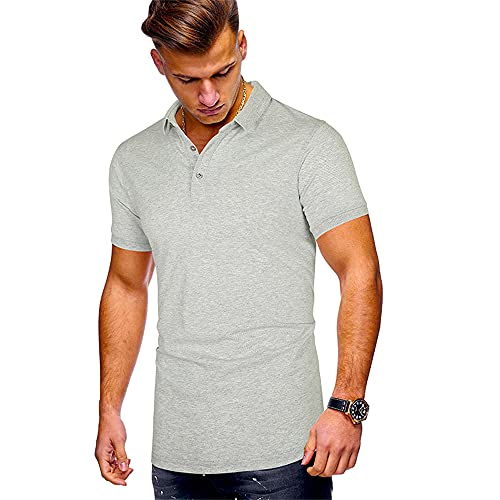 Henley Camisa Hombre Moderno Urbano Verano Básico Botón Placket Hombre Polo Shirt Simplicidad Moda Color Sólido Manga Corta Deportiva Camisa Wicking Transpirable Hombre Shirt E-Grey 1 S