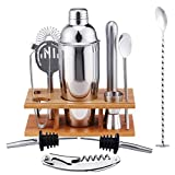 ZAIZAI 14 unids/set Cocktail Shaker Mixer Acero inoxidable Bartender Bamboo Bartending Wine Rack Stand for Home Bar Party 550 / 750ml (Size : 550ML)