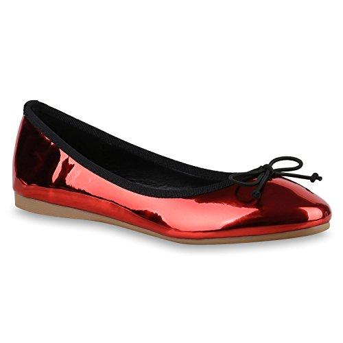stiefelparadies Klassische Damen Ballerinas Elegante Schimmer Flats Velours Lack Schleifen Strass Ballerina Slipper Schuhe 131308 Rot 36 Flandell