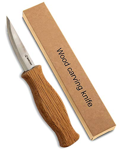 "BeaverCraft Sloyd Knife C4 3.14"" Wood Carving Sloyd Knife for Whittling and Roughing for beginners and profi - Durable High carbon steel - Spoon Carving Tools - Thin wood working (Whittling Knife)"