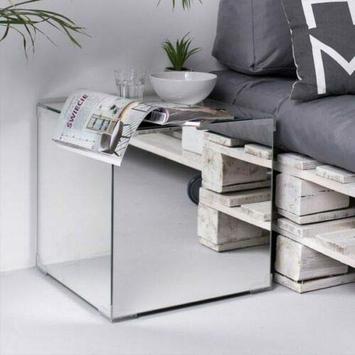 Luxurious Side Table Mirrored Furniture Glass End Tea Lamp Laptop Sofaside Bedside Cabinet Table Bedroom Nightstand Living Room Home Furniture- H40cm x W40cm x D40cm (inches 16x16x16) with Storage