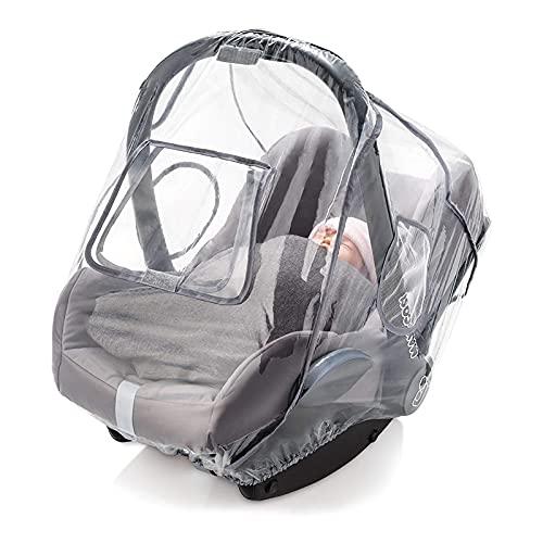 Babify - Protector de Lluvia Universal para Grupo 0 - Burbuja de Lluvia con Ventana Frontal y Ventilación Lateral - Incluye Bolsa de Transporte - Sin PVC