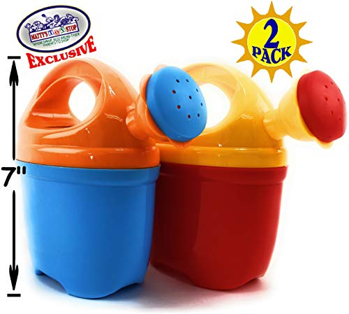 Matty's Toy Stop 7' Two Piece Plastic Watering Cans for Kids Blue/Orange & Red/Yellow Gift Set Party Bundle - 2 Pack