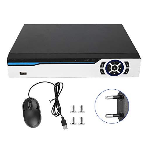 Netzwerk-Videorecorder, 8-Kanal-CCTV-Netzwerk-Video-NVR-Rekorder Festplatte 5MP/4MP/1080P/720P 100-240 V für Sicherheitsvideorecorder, unterstützt Analog(Schwarze EU)