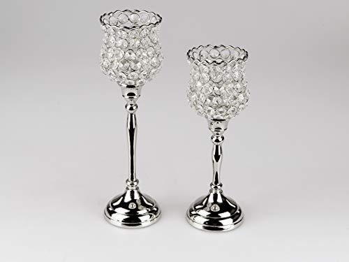 Small-Preis 2tlg. Glaskelch Windlicht Set H28/32cm mit silbernem Fuß und Kerzenhalter Kerzenleuchter Kerzenständer in Blütenoptik