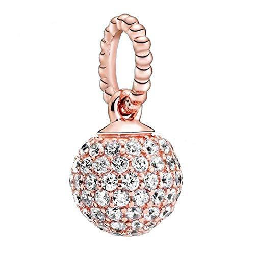 pandora 925 ciondolo in argento sterling fai da te swing perline bianco pavé palla oro rosa fascino fit originale charm braccialetto d'argento gioielli donna