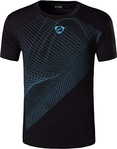 jeansian Herren Sport Tee Shirt Tshirt T-Shirt Kurzarm Tops Tennis Golf Bowling Trockener Sitz LSL069 Black XXL