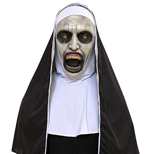 TIREOW_Halloween Nonne Kostüm für Frauen, 2018 Nonne Maske mit Schleier Scary Zombie Maske