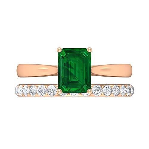 1.12 CT Solitaire Emerald Ring, HI-SI Diamond Bridal Ring Set, 7X5 MM Octagon Cut Ring, Gold Wedding Ring For Women, 18K Rose Gold, Size:UK X