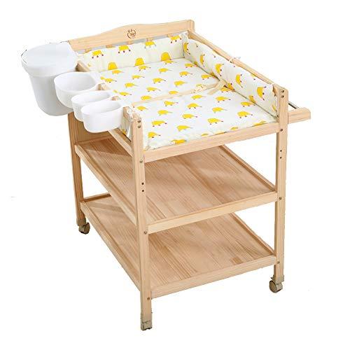 Multifunctionele Veranderende Tafel Babyverzorgingsstation, Massief Hout Multifunctioneel Babybed Kan Verplaatsbare Pasgeboren Badtafel Massage Tafel 0-3 Jaar Oud 62 * 85 * 97cm