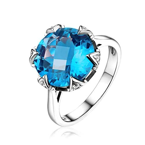 Adokiss Anillo de boda de 18 quilates, grande azul redondo, topacio de 7,5 quilates, anillo de boda para mujer, oro blanco, regalo de aniversario