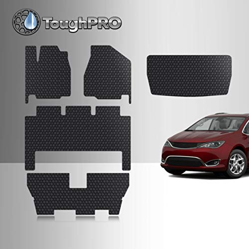 TOUGHPRO Floor Mat Accessories 1st + 2nd + 3rd Row + Cargo Mat Accessories Compatible with Chrysler Pacifica - All Weather - Heavy Duty - (Made in USA) - Black Rubber - 2017, 2018, 2019, 2020, 2021