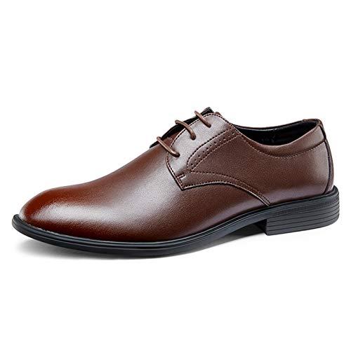 Zapatos casuales Zapatos resistentes al desgaste de los hombres, costura de encaje de tres ojos, tacón de punta redondo, cómodo moderno clásico de cuero sintético y suela de goma, zapatos Oxford