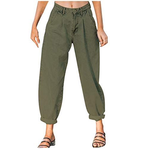 Winkey - Pantalones vaqueros de cintura alta para mujer verde militar S