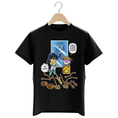 T-shirt Enfant Garçon Noir parodie Saint Seiya - Shiryu du Dragon et Dohko chevalier d'or de la Balance - Un choix très difficile... (T-shirt enfant de qualité premium de taille 5-6 ans - imprimé en