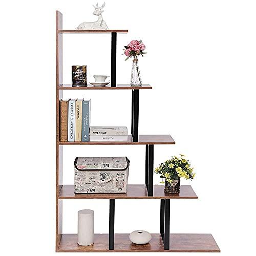 IWELL Ladder Bookshelf, 5-Tier Wood Corner Bookshelf, Rustic Ladder Shelf for Living Room, Bedroom, Home Office, Rustic Brown