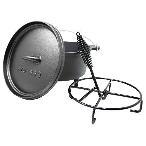 Big BBQ Dutch-Oven Galloway 4.5 aus Gusseisen | fertig eingebrannter 10er Gusseisen Koch-Topf | 3.7 Liter Feuertopf mit Deckelheber, Deckelständer oder Topfständer | Bräter mit Füßen