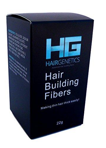 Hair Genetics® Fibras Capilares de Queratina para Cabello - Fórmula Avanzada Cero Picores de Calidad Profesional y Aspecto Natural para Hombres y Mujeres Dispensador 22 g (Negro)