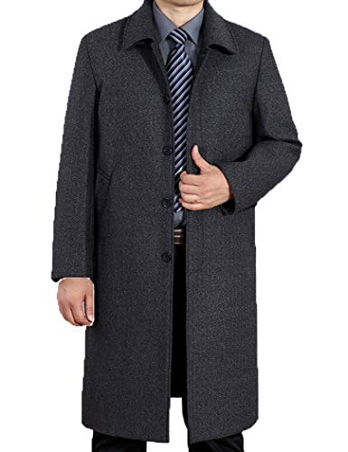 Michealboy Men's Wool Single Breasted Winter Trench Jacket Long Woolen Pea Coat Shirt Collar for Business Grey