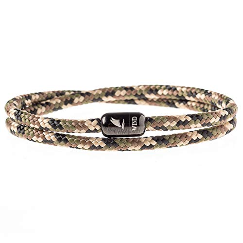 Wind Passion Durable Rope Cord Cuff Army Bracelet with Magnetic Clasp for Men Women, XX-Large Size