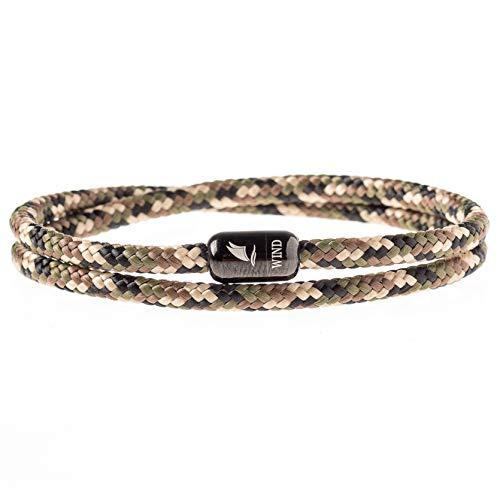 Wind Passion Armband Braun Unisex Maritim Segeltau mit Magnetverschluss für Männer und Frauen, Größe Large