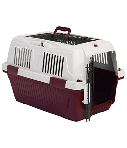 Dehner Hunde- oder Katzen Transportbox Robbi, ca. 57 x 37 x 35 cm, Kunststoff/Metall, rot/grau