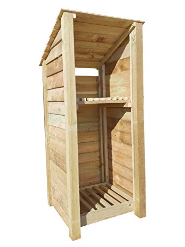 Arbor Garden Solutions Wooden Log Store With Kindling Shelf 6Ft (1.1 cubic meters capacity) (W-79cm, H-180cm, D-81cm) (Reverse) (Light Green (natural))