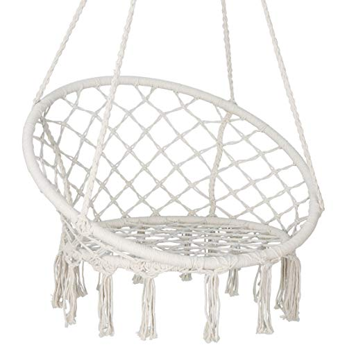 Saturnpower Hammock Chair Macrame Swing, Bohemian Style Round Hanging Chair, Handmade Knitted Cotton Rope Hammock Swing Chair for Indoor/Outdoor Home Bedroom Yard Garden Patio, Max 260Lbs, Beige